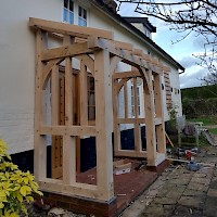 Oak framed porch installation on house in Norwich