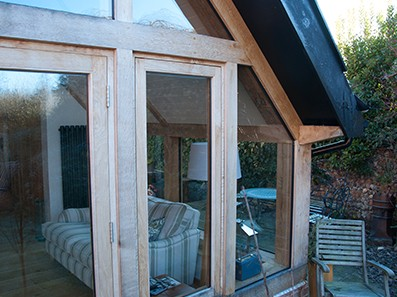 Oak framed French Doors at Pinch Pot Cottage, Norfolk