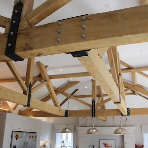 Traditional Oak Trusses in Farmhouse style kitchen.
